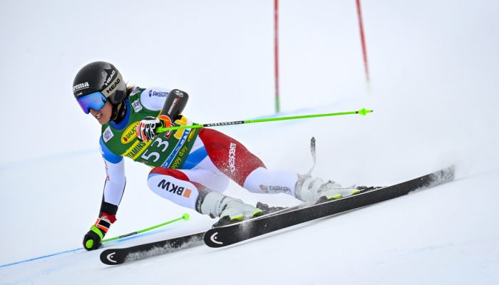 Camille Rast of Switzerland in action during the first run of the Women's Giant Slalom race of the FIS Alpine Ski World Cup season opener on the Rettenbach glacier, in Soelden, Austria, on Saturday, October 17, 2020. (KEYSTONE/Gian Ehrenzeller)